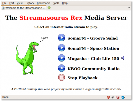 Screenshot of the Streamasourus Rex Web Interface